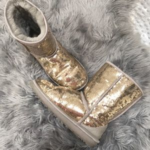 Ugg Gold Sequin Boots Size 8
